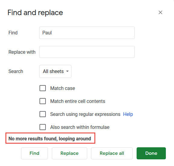 No more results message in Find and Replace