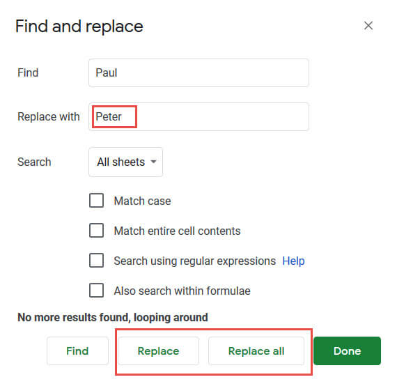 Replace options in case you want to search and replace