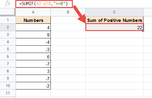 SUMIF formula to add positive numbers only