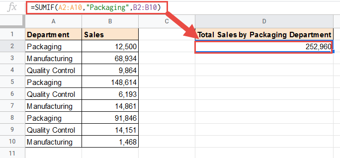 SUMIF formula to sum based on text