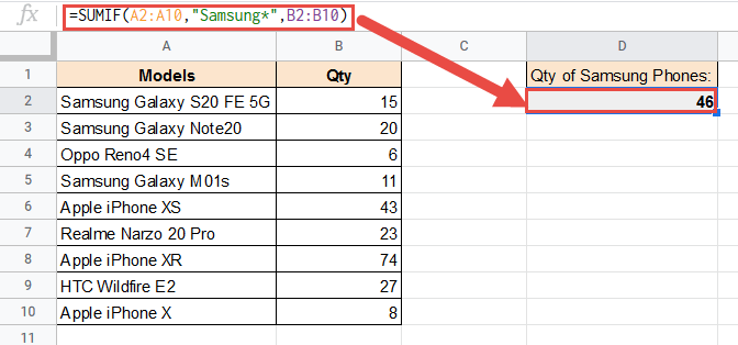SUMIF formula with wildcard datasets