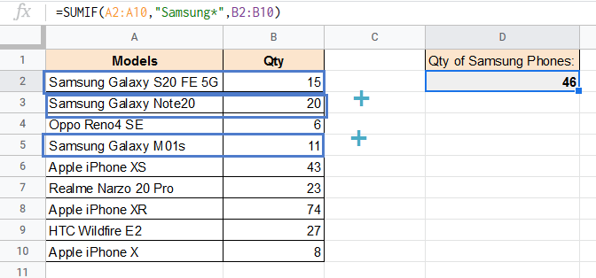 SUMIF formula with wildcard explained