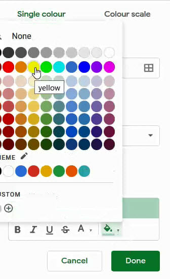 Select the color in which to format the cell