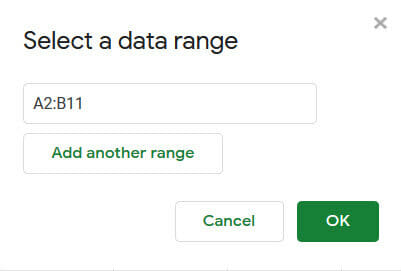 Select the data range