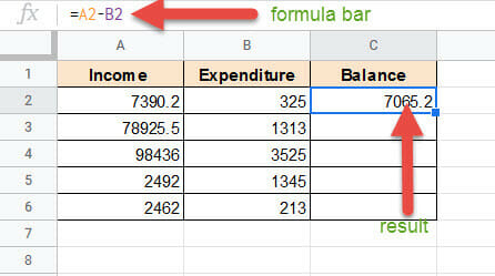 Subtract in Google Sheets using operator