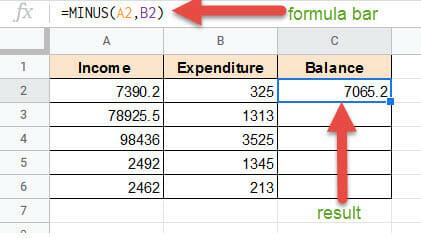 Subtracting in Google Sheets using Formula bar