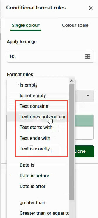 Text does not contain option