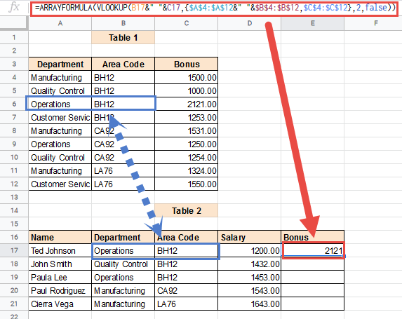 ARRAY VLOOKUP with multiple criteria formula