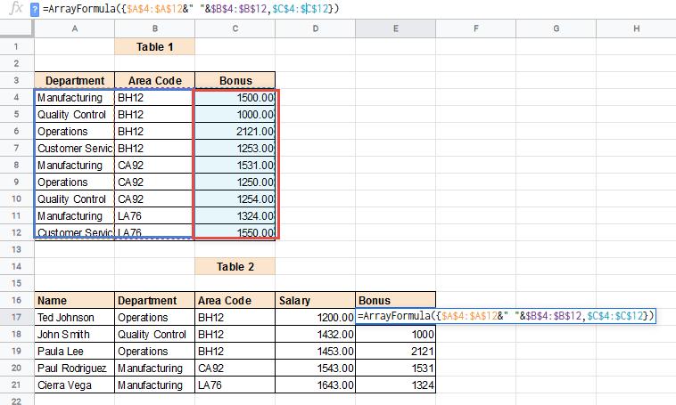 Array VLOOKUP formula explained