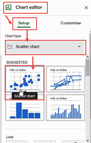 change the chart type to scatter chart
