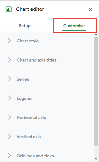 click on customize in chart editor