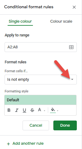 Click on format cells if drop down