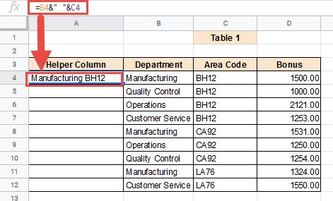 Combine multiple criteria using formula