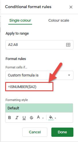 Enter the ISNUMBER formula