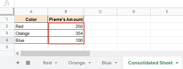 Final result indirect multiple sheets