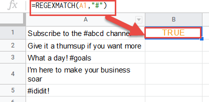 Find text string with hashtag