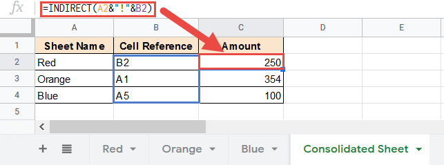 Pull data using cell reference as the value