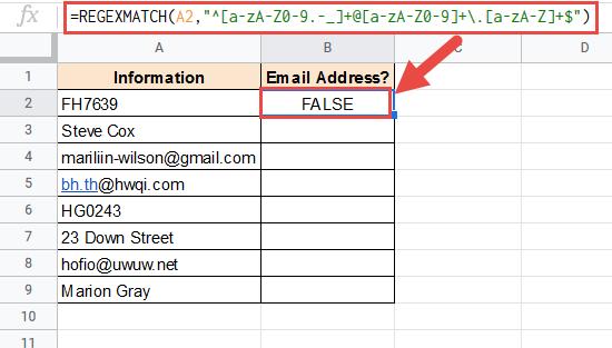 REGEXMATCH formula to find email address