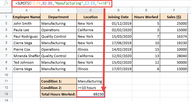 SUMIFS formula to calculate total hours worked