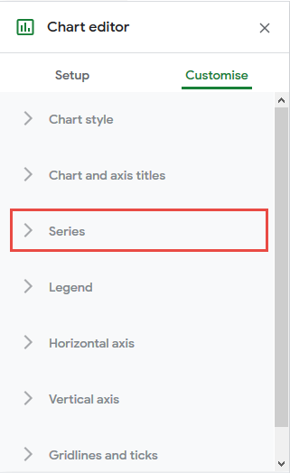 click on series in chart editor