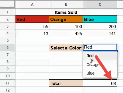 Total for the selected color