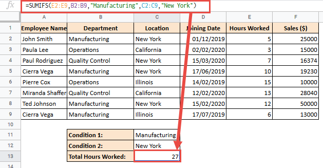 Total hours worked using SUMIFS formula