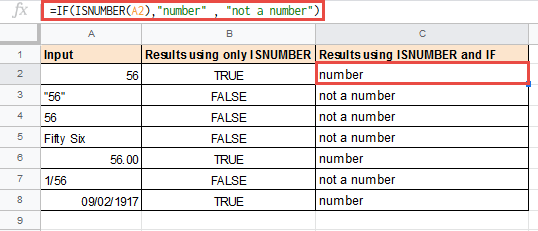 Using ISNUMBER with IF in Google Sheets