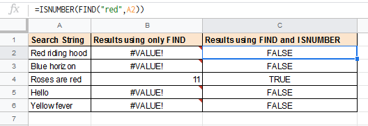 Using ISNUMBER with find