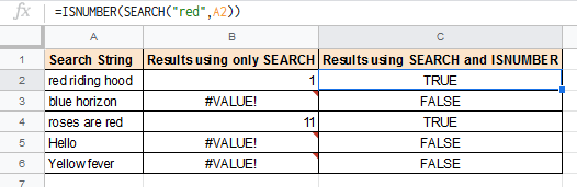 using ISNUMBER with search