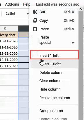 Click on the Insert 1 Left option