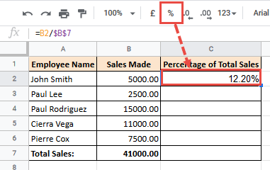 Click on the % icon in the toolbar