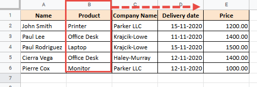 Column to move in Google Sheets