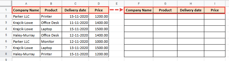 Copy the data headers before sorting