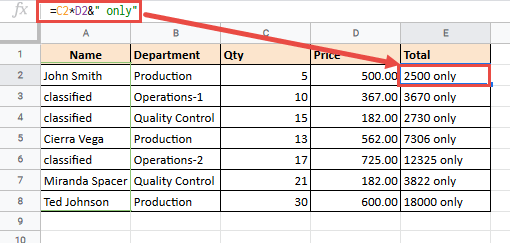 Formula to add the wrd Only to the numbers