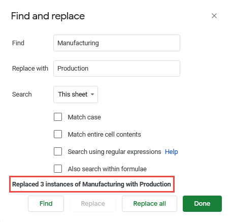 Instances replaced by find and replace