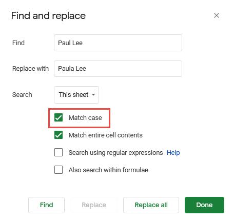 Select Match case checkbox