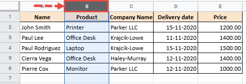 Select the column or columns that you want to move