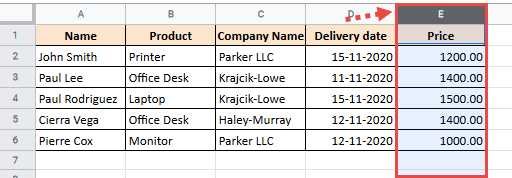 Select the column where you want to insert the copied column