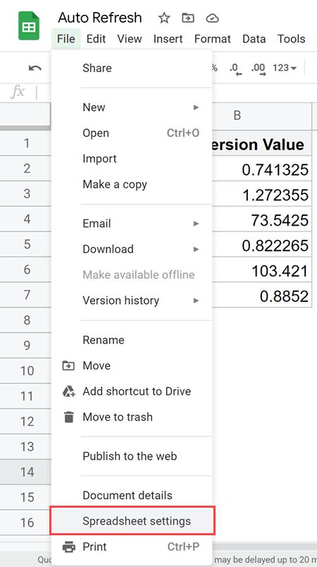 Click on Spreadsheet Setting