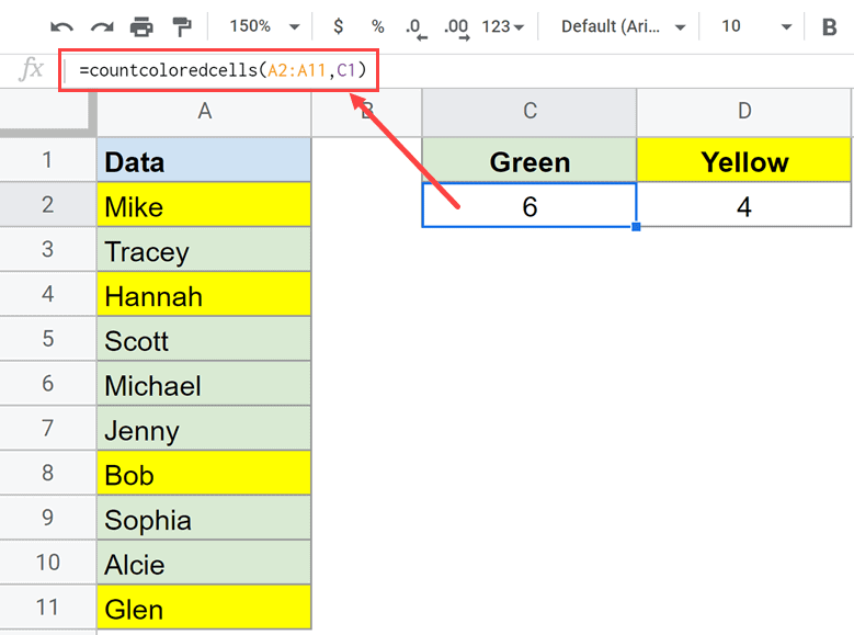 Formula to count colored cells in Google Sheets