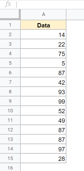Dataset with numbers