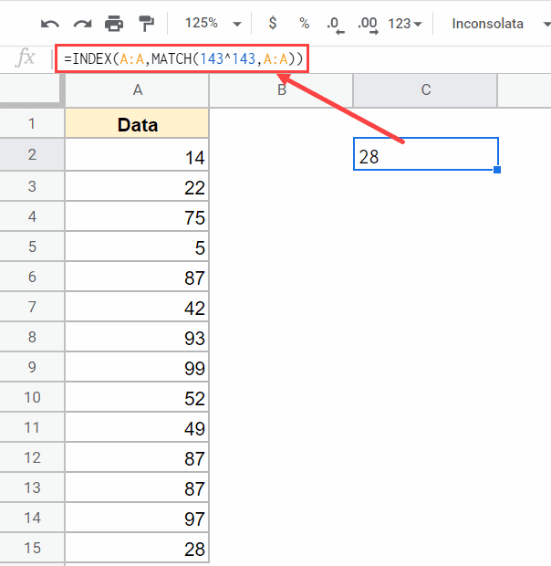 Formula to get the last number in the column