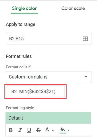 Formula to highlight the lowest value