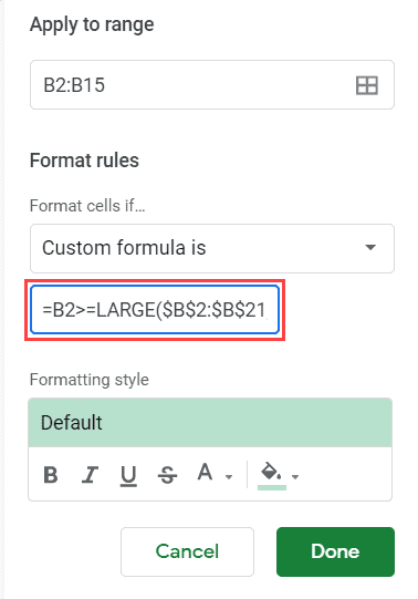 Formula to highlight top 3 values in the dataset in Google Sheets