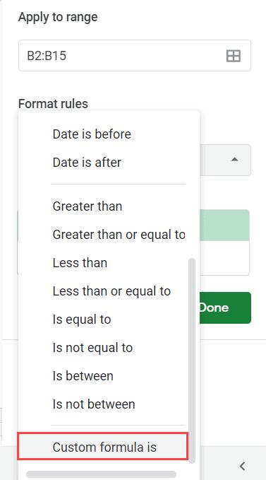 Select Custom Formula is option
