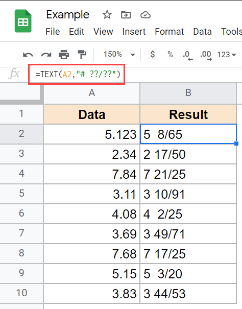 Text formula to convert decimal to fractions