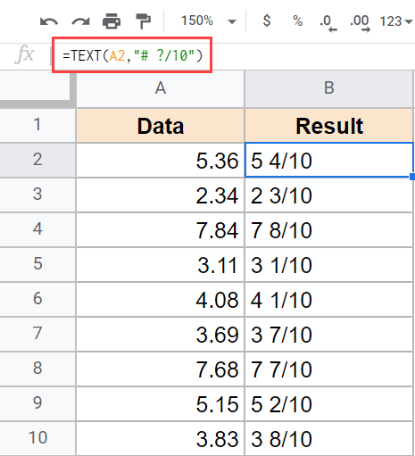 Text formula to show a fixed denominator