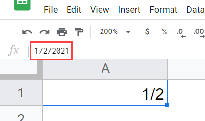 fraction entered as date