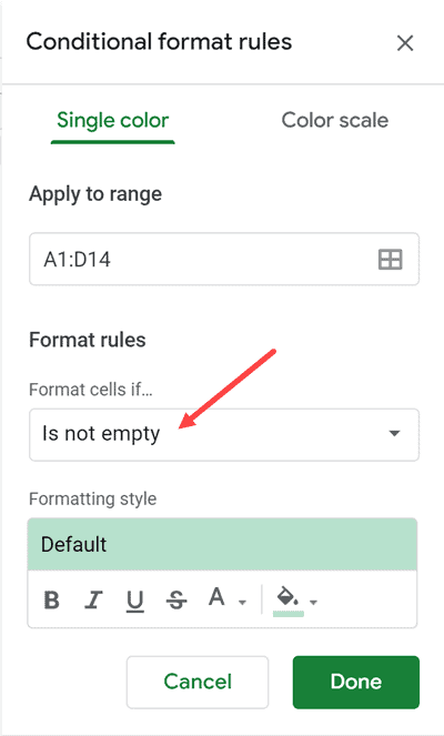Click on Format cell if option