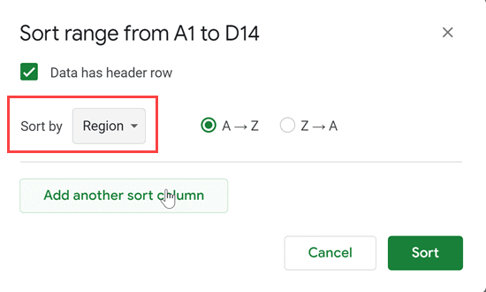 Click on Region from the drop down